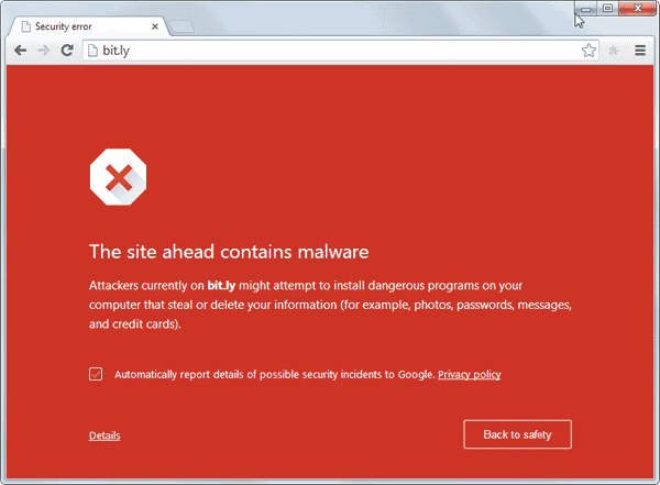 Web Security Google Malware Warning